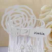 Ivory Rose Place Cards For On Glasses (10)